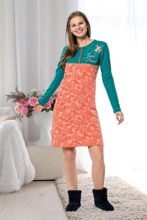 İPEKTENİM TEKSTİL Kadın Yeşil Fermuarlı Pijama Elbise