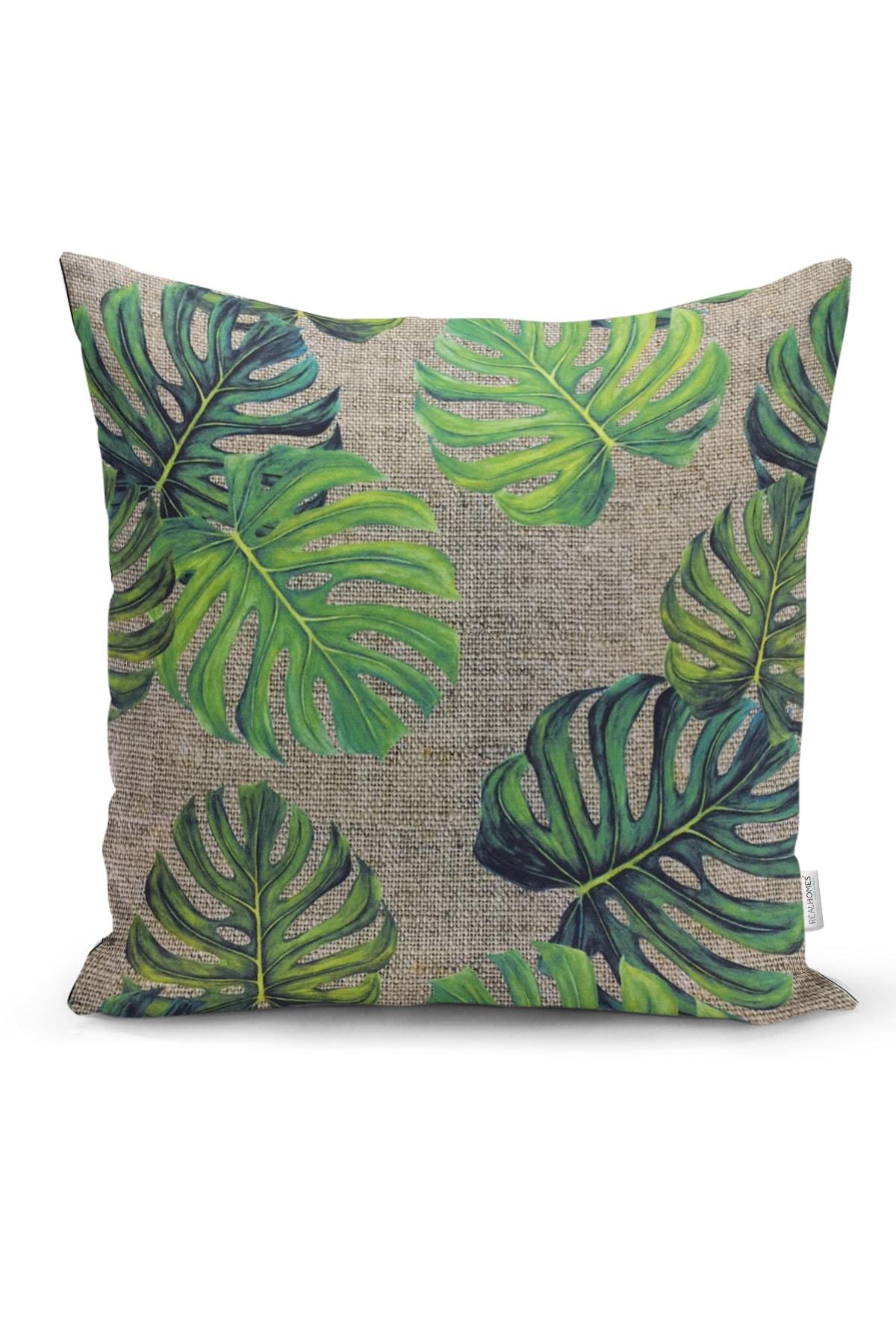 Realhomes Çuval Zeminli Palmiye Yaprakları Özel Tasarım Yastık Kırlent Kılıfı