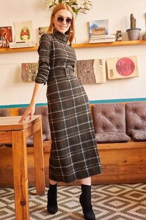 Olalook Kadın Haki Degaje Yaka Kemerli Kaşe Elbise ELB-19000810