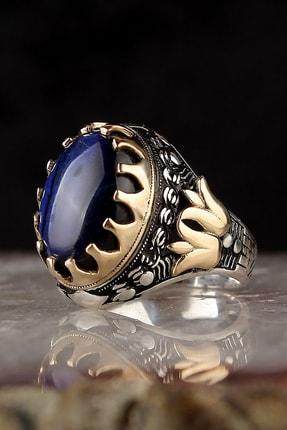 Tesbihevim Parlament Mavisi Kedi Gözü Taşlı 925 Ayar Gümüş Yüzük