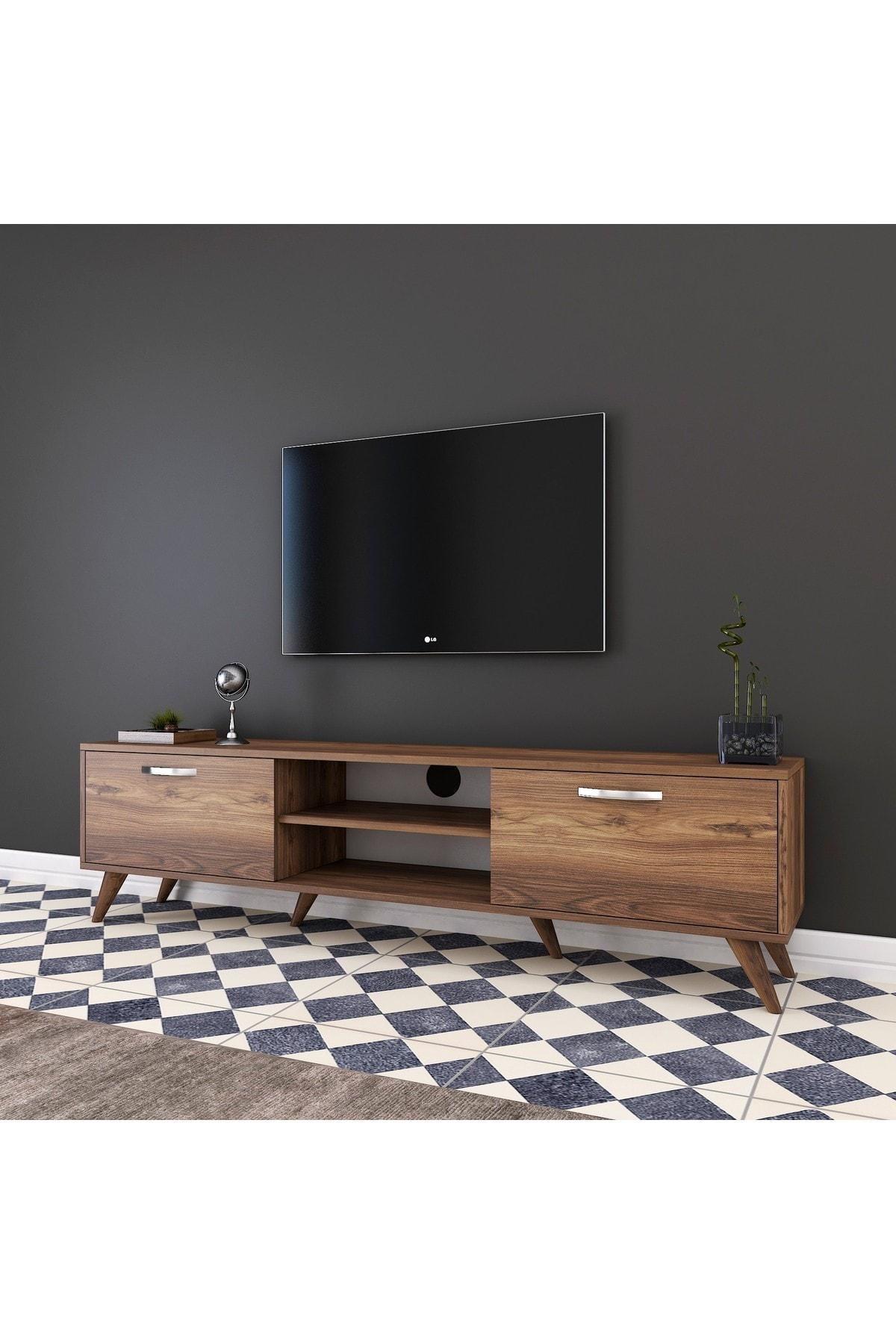 Rani Mobilya Rani A9 Tv Ünitesi Modern Ayaklı Tv Sehpası Ceviz