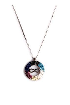 Sahra Renkli Zirkon Süslemeli Sonsuzluk Tasarım 925 Ayar Gümüş Kolye KLY-0066-32