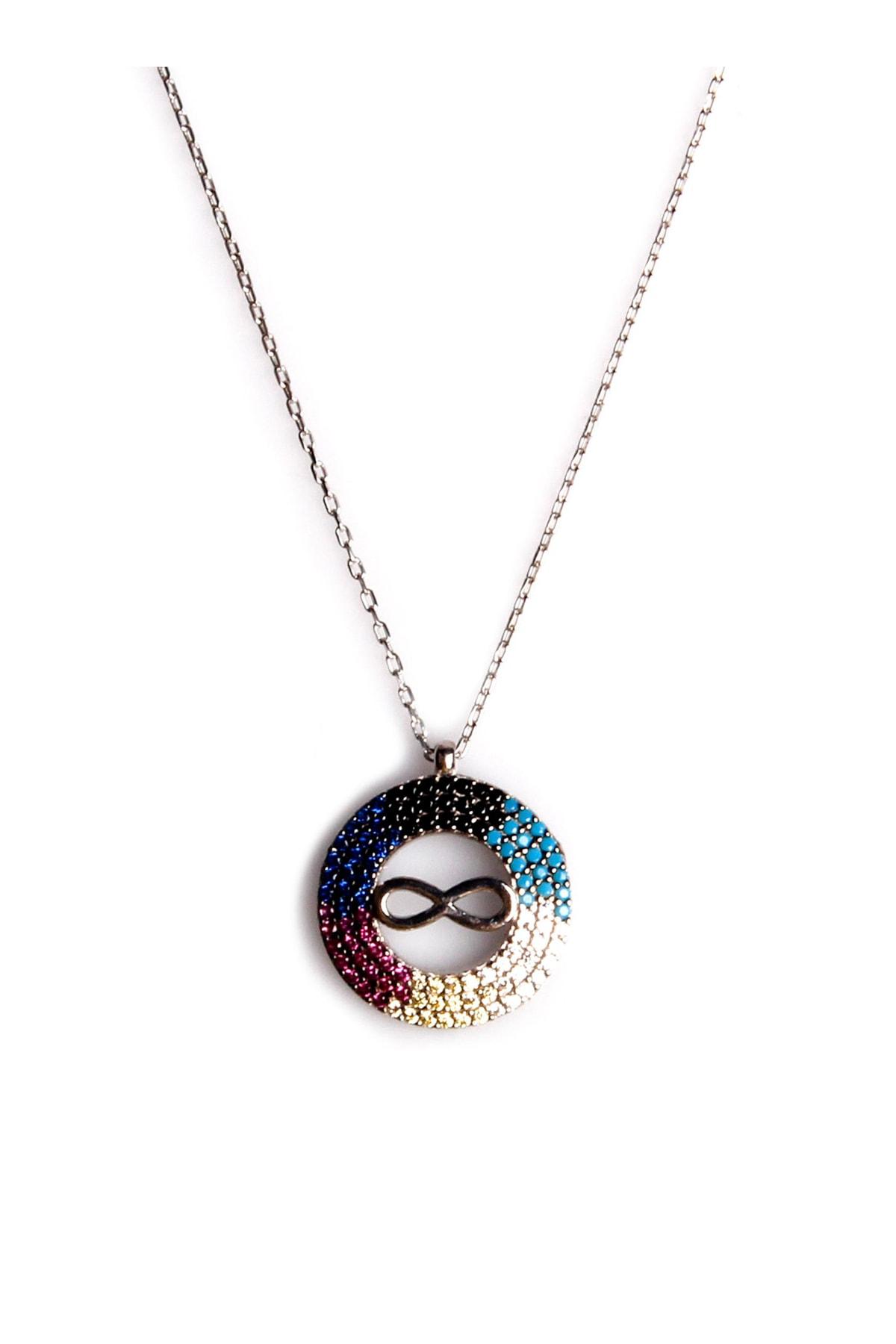 Sahra Renkli Zirkon Süslemeli Sonsuzluk Tasarım 925 Ayar Gümüş Kolye KLY-0066-32 1