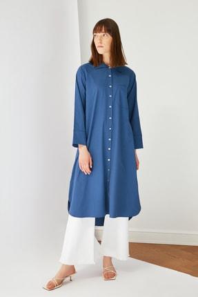 Trendyol Modest Indigo Gömlek Yaka Tunik Elbise TCTSS21TN0119