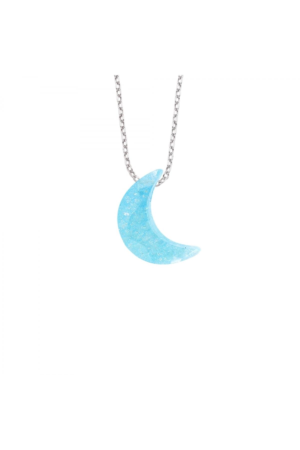 Altın Sepeti Gümüş Aqua Mavi Taşlı Ay Kolye