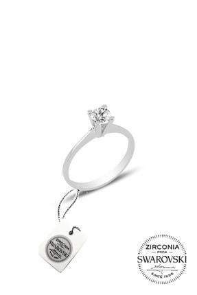 Söğütlü Silver Kadın Gümüş Swarovski Tek Taş Yüzük 14 SGTL20506A
