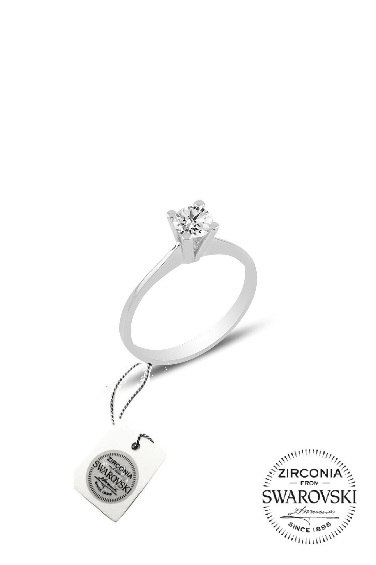 Söğütlü Silver Kadın Gümüş Swarovski Tek Taş Yüzük 14 SGTL20506A 1