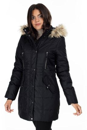 Vero Moda Kadın Siyah Yakası Suni Kürklü Uzun Mont 10215237 VMTYPHOON
