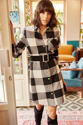 Olalook Kadın Siyah Oduncu Kalın Ekose Tunik Elbise ELB-19000836