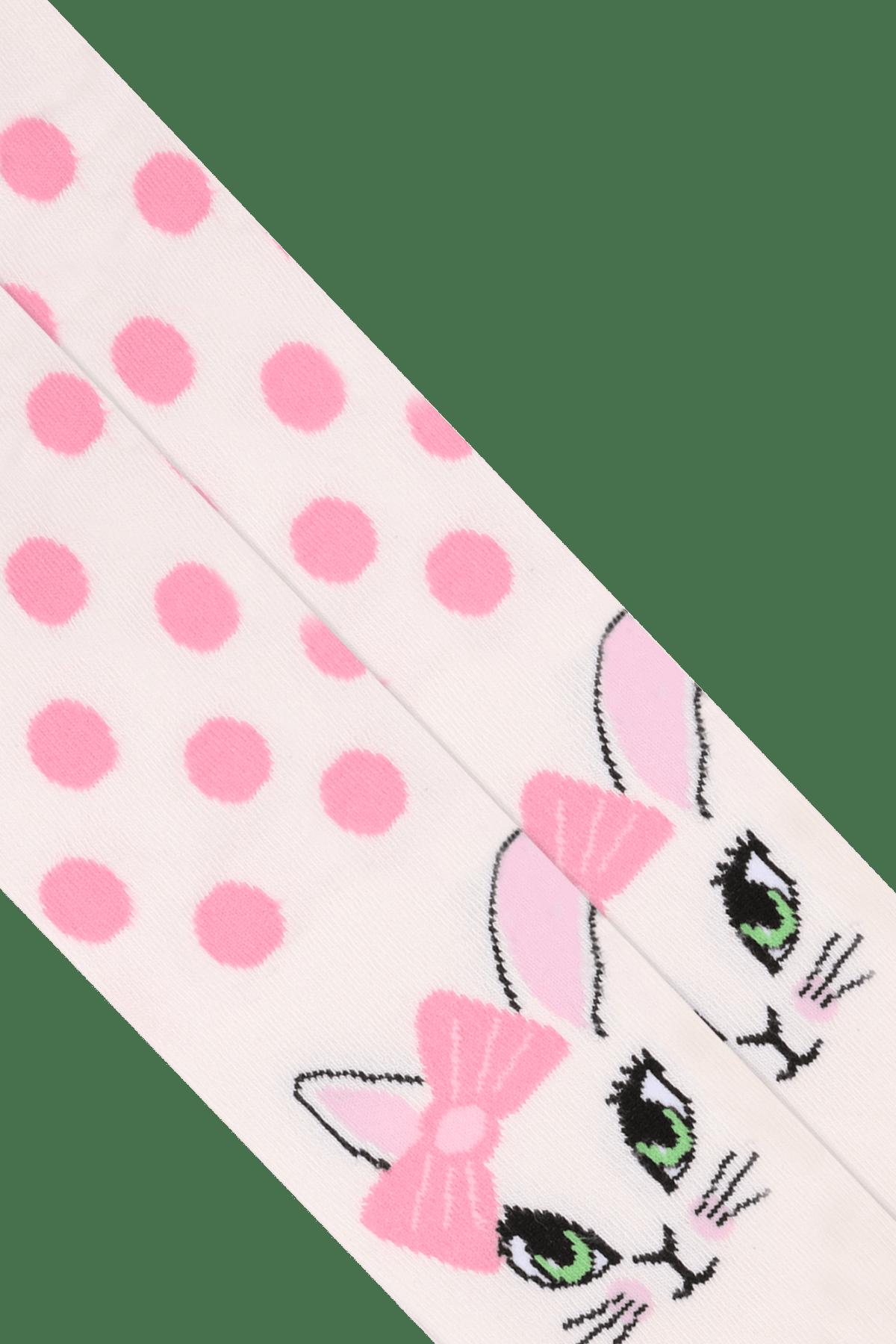 Bross Çocuk Ekru Puanlı Kedi Desenli Çocuk Külotlu Çorap