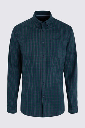 Marks & Spencer Erkek Yeşil Pamuklu Ekose Gömlek T25002831M