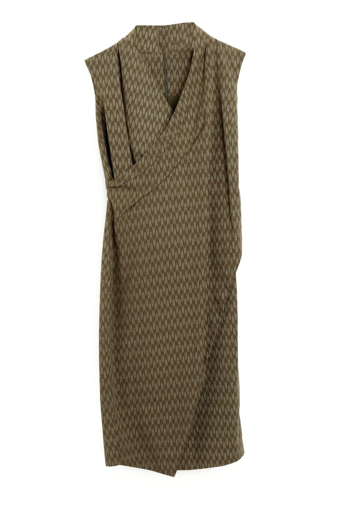 Yargıcı Kadın Yeşil Desenli Dik Yakalı Elbise 9KKEL7130A 2