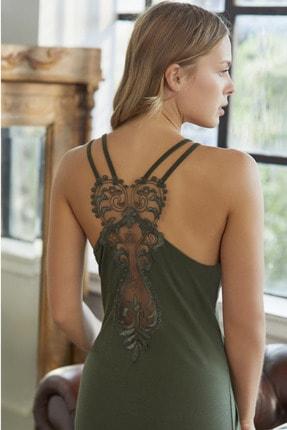Anıl Kadın Yeşil Askılı Elbise Sabahlık Viskoz Takım 5611