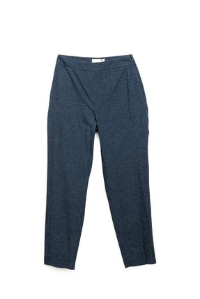 Yargıcı Kadın Lacivert Desenli Dikiş Detaylı Pantolon 9KKPN3126X
