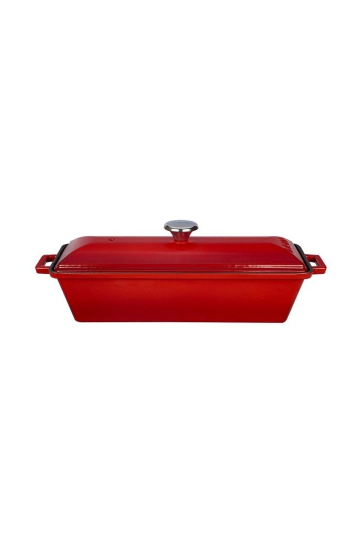 Lava Döküm Ekmek Kabı / Terrine. Ölçü 11x29 cm. - Kırmızı 2
