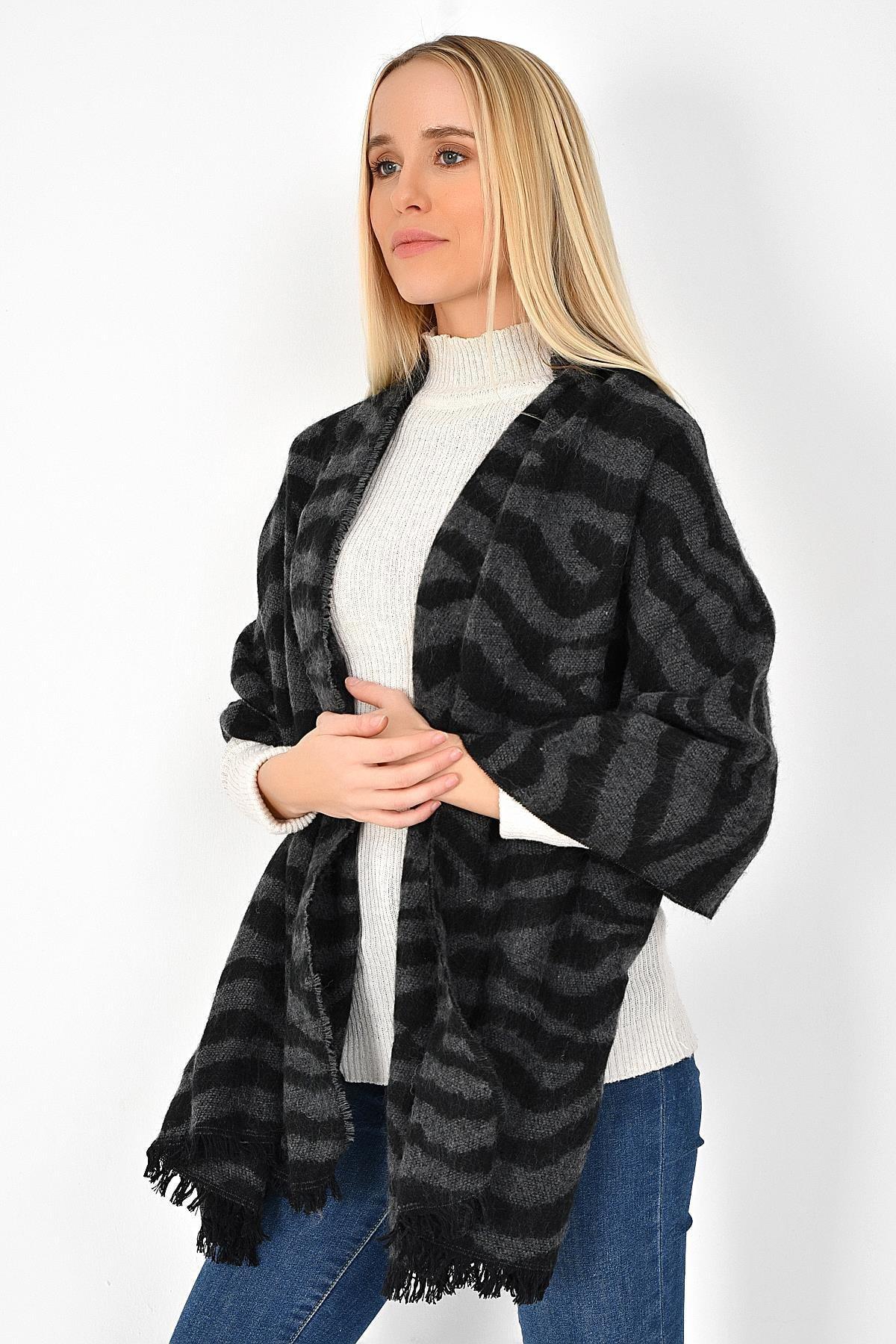 TENA MODA Bayan Zebra Desen Lux Zara Şal 9KBSLFOR-12