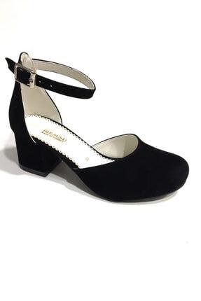 İremsu Siyah Süet Kız Çocuk Abiye Topuklu Ayakkabı 31-36 Numara