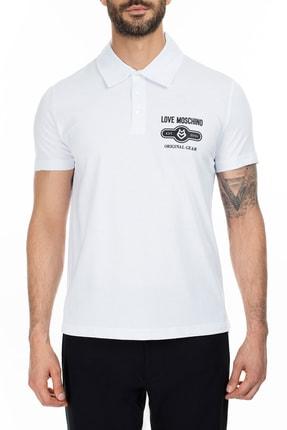 Love Moschino Erkek Beyaz T-Shirt S M831803M3876 A00