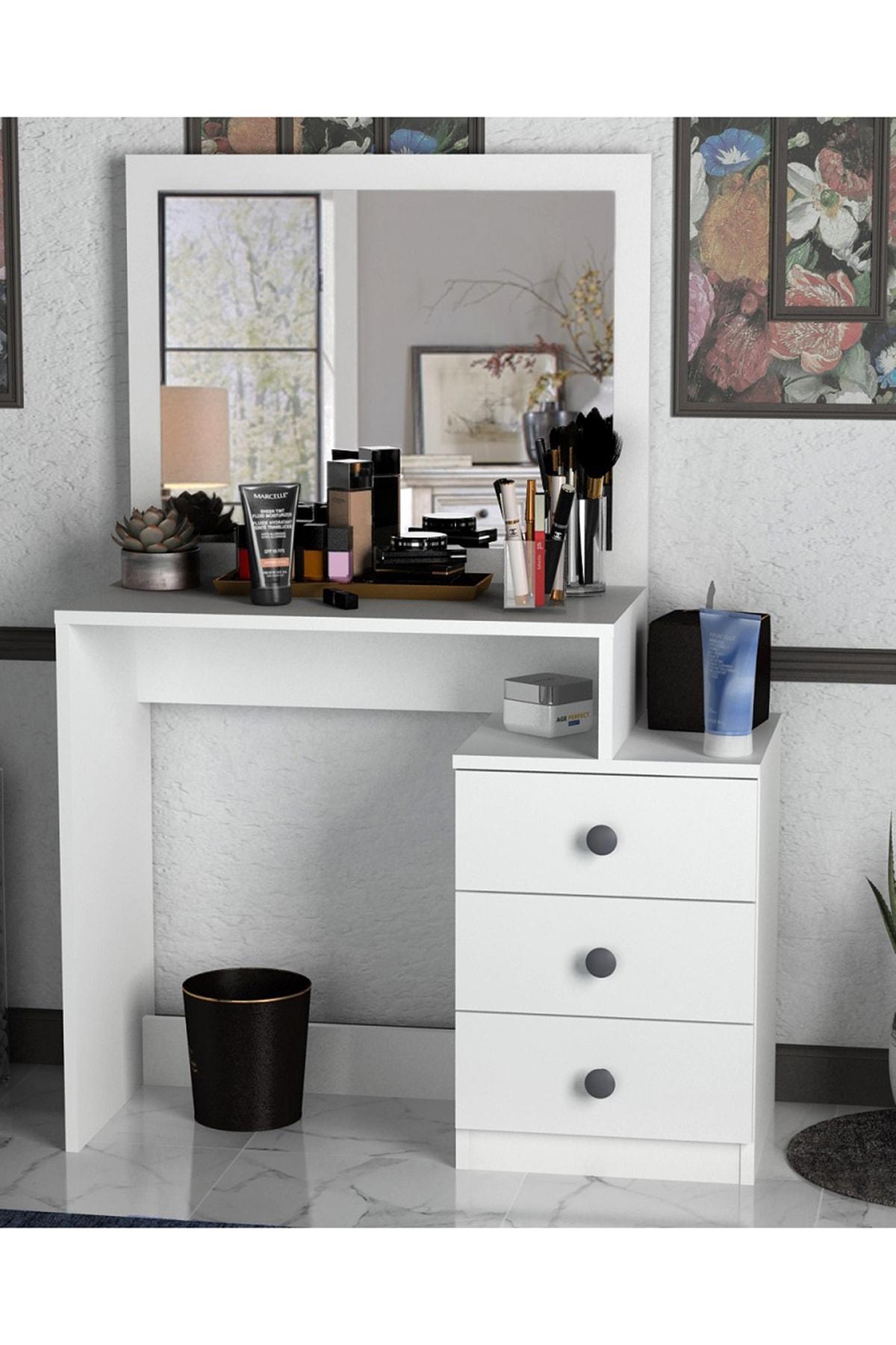 Sanal Mobilya Decanter 3 Çekmeceli Dresuar - Makyaj Masası Mat Beyaz 2