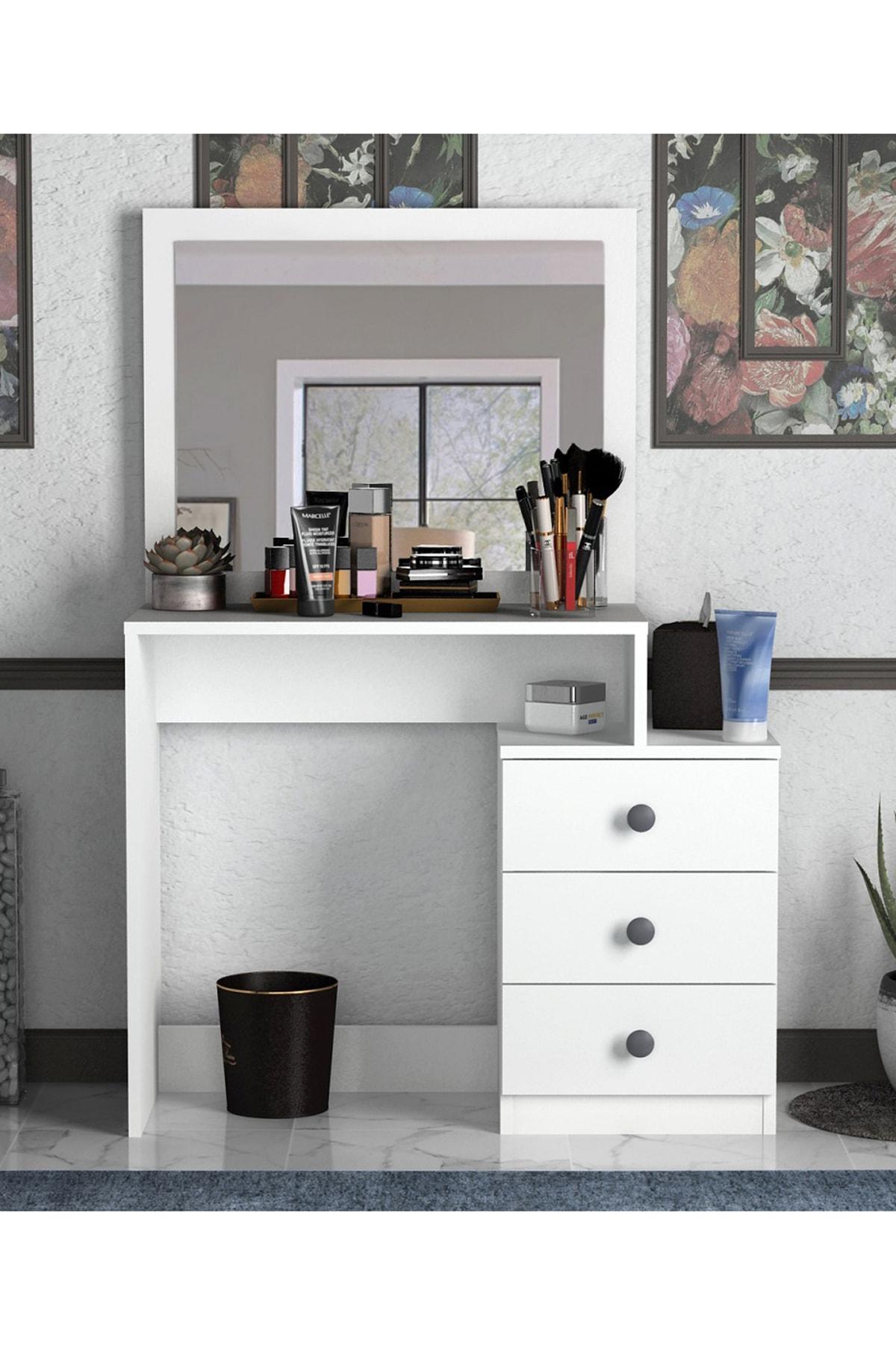 Sanal Mobilya Decanter 3 Çekmeceli Dresuar - Makyaj Masası Mat Beyaz 1