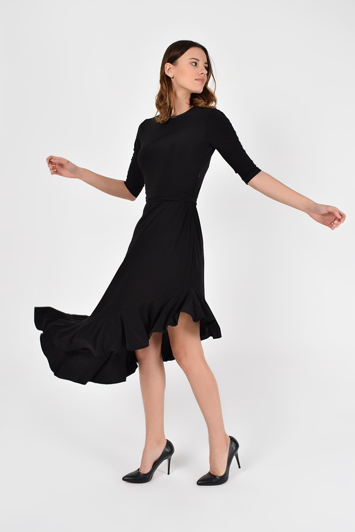 Laranor Kadın Siyah Asimetrik Kesim Elbise 19L6750 2