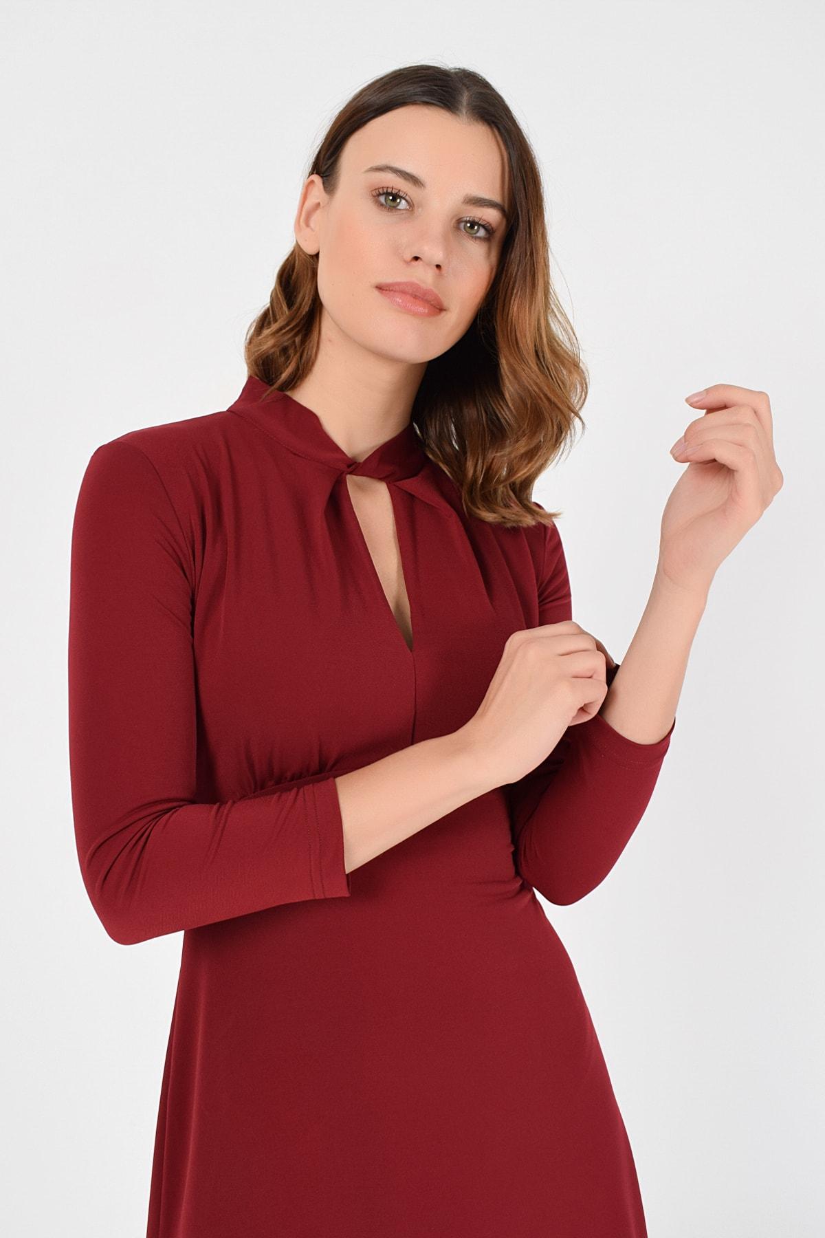 Laranor Kadın Bordo Yakada Burgu Detay Elbise 19L6720 2