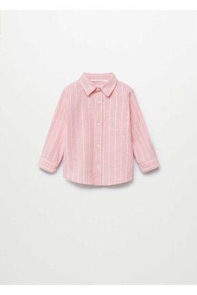 MANGO Baby Erkek Bebek Pembe Çizgili Pamuklu Keten Gömlek