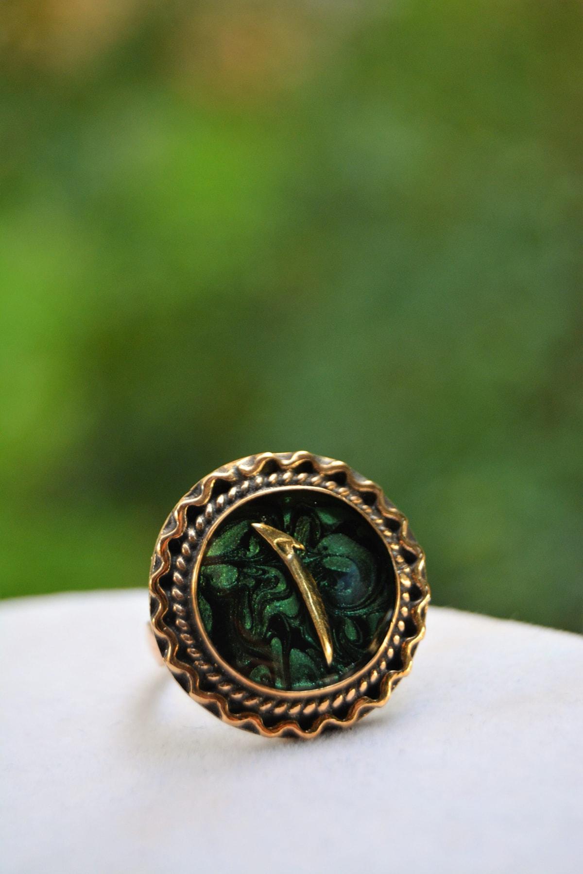 Stoneage Yeşil Ebru Elif Figürlü Ayarlanabilir Bayan Yüzük 2
