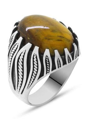 Tesbihane Kaplangözü Taşlı Alev Tasarım 925 Ayar Gümüş Kızılderili Yüzüğü