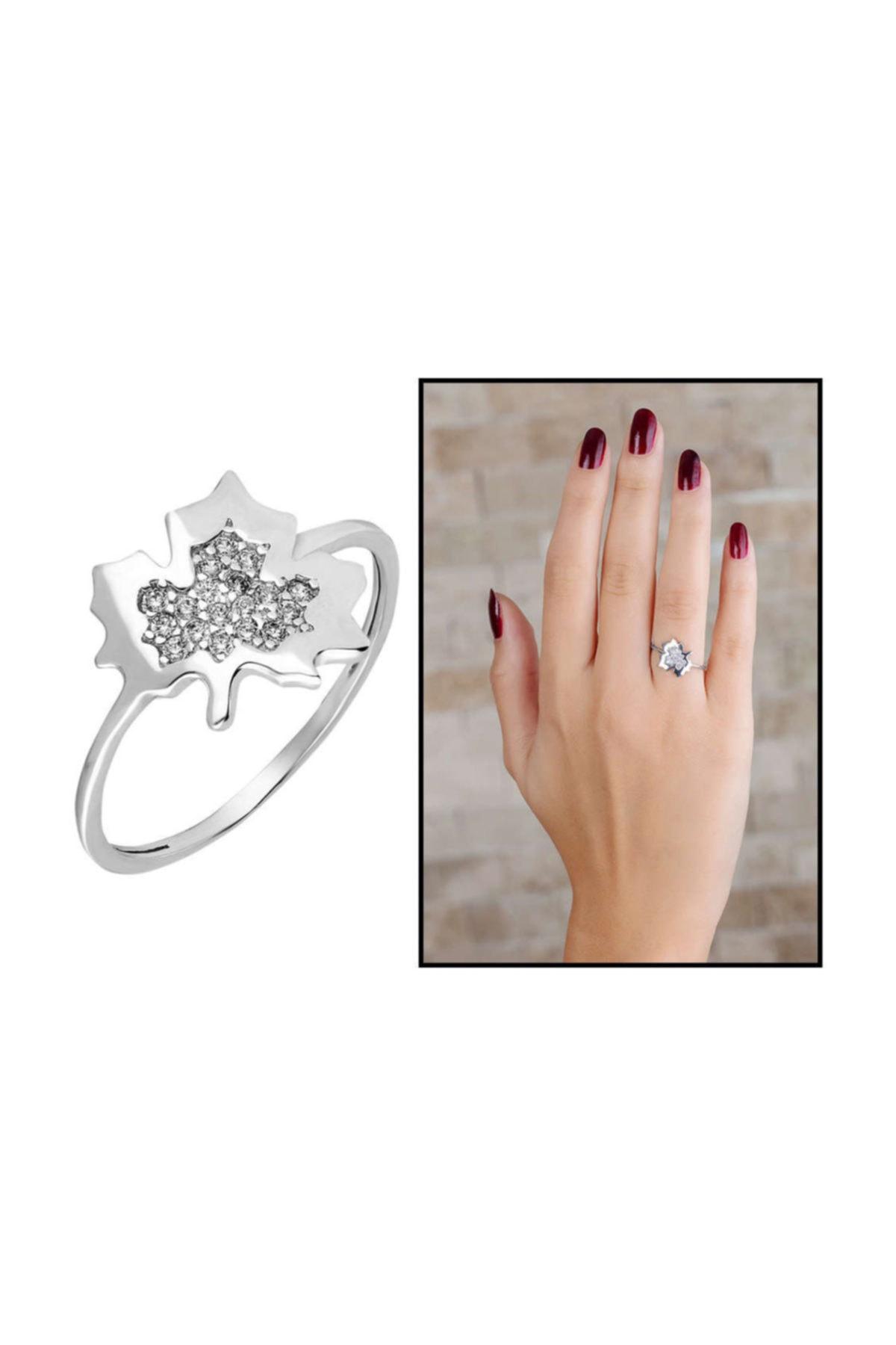 Tesbihane Zirkon Taşlı Çınar Yaprağı Tasarım 925 Ayar Gümüş Bayan Yüzük 1