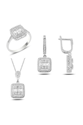 Mercan Silver Baget Taşlı Gümüş Set
