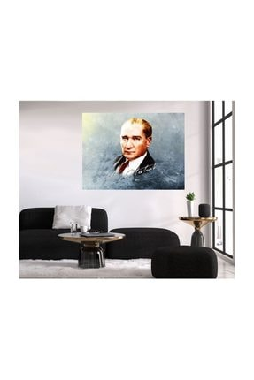 TABLO KANVAS Ataturk Imzası Ve Bust Kanvas Tablo 60x80 Cm