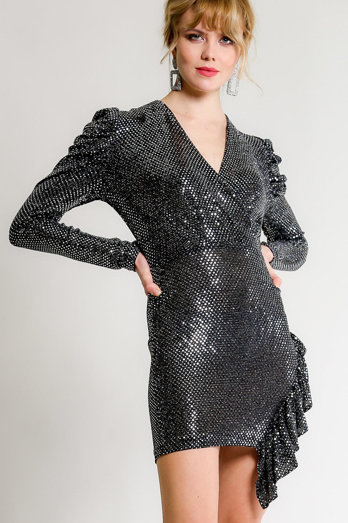 Chiccy Kadın Siyah-Gümüş Retro Kruvaze Balon Kol Fırfır Detaylı Elbise M10160000EL97453