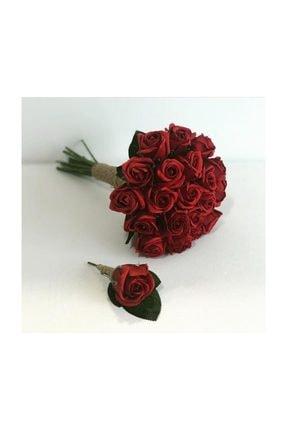 Evsay Gelin Buketi Gelin Eli Çiçeği Damat Yaka Çiçeği Düğün Nişan Kına Aksesuarı Bordo