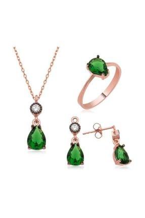 Gumush Gümüş Yeşil Damla Taşlı Kadın Set 925 ayar