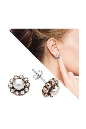 Tesbihane Beyaz Zirkon Taşlı Çiçek Tasarım 925 Ayar Gümüş İnci Küpe 107000044