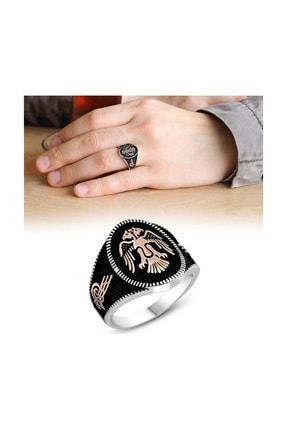 Tesbihane Tuğra İşlemeli Oval Çift Kartal Motifli 925 Ayar Gümüş  Yüzük 102001125