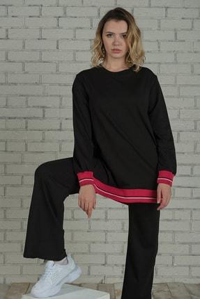 Runever Kadın Nar Çiçeği Şeritli Tunik Takım