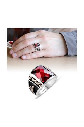 Tesbihane Tuğra İşlemeli Kırmızı Zirkon Taşlı 925 Ayar Gümüş Milli İrade Yüzüğü
