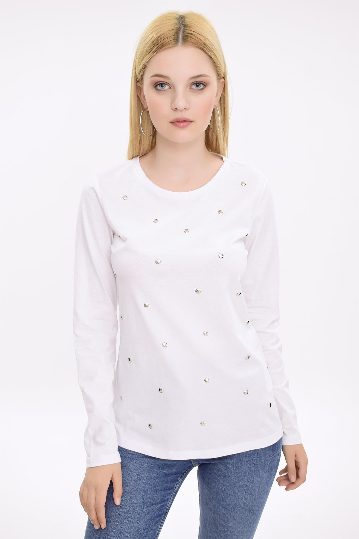 Hanna's by Hanna Darsa Kadın Beyaz Metal Boncuk İşlemeli Uzun Kollu Bluz HN2079 1