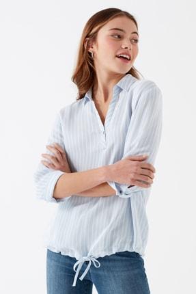 Mavi Kadın Çizgili Açık Mavi Bluz 120554-30711