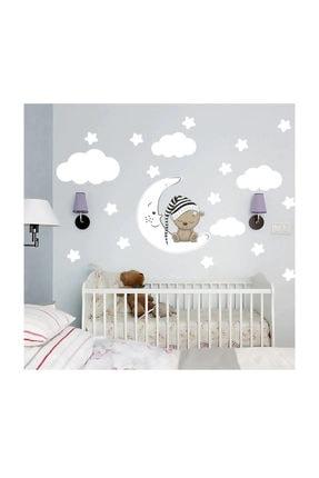 KT Decor Uyuyan Ayıcık, Yıldız, Bulut Set Bebek Çocuk Odası Duvar Sticker