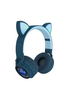 BizimGross Kablosuz Kulaküstü Mikrofonlu Bluetooth 5.0 Led Işıklı Göstergeli Fm Radyolu Kedili Kulaklık