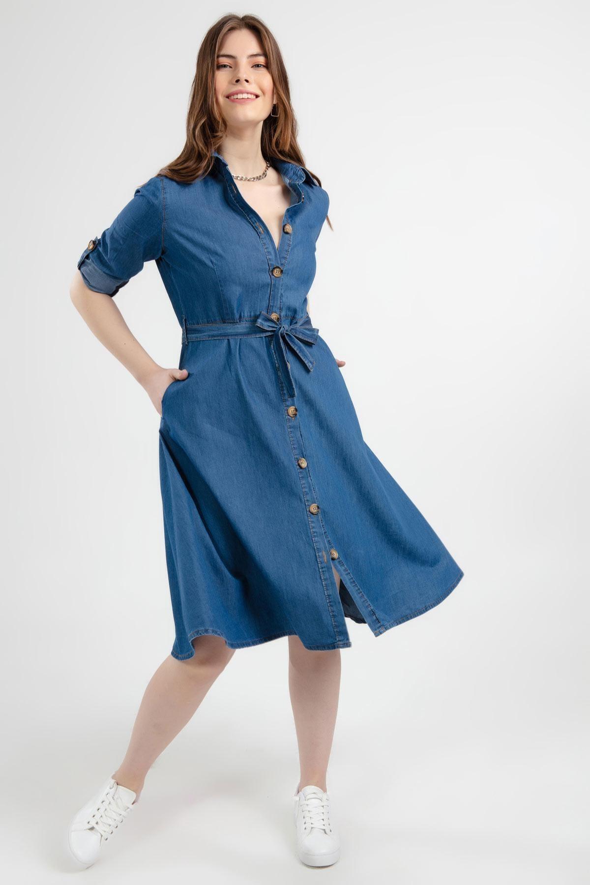 Pattaya Kadın Mavi Kuşaklı Uzun Kollu Kot Gömlek Elbise Y20s110-1924 1