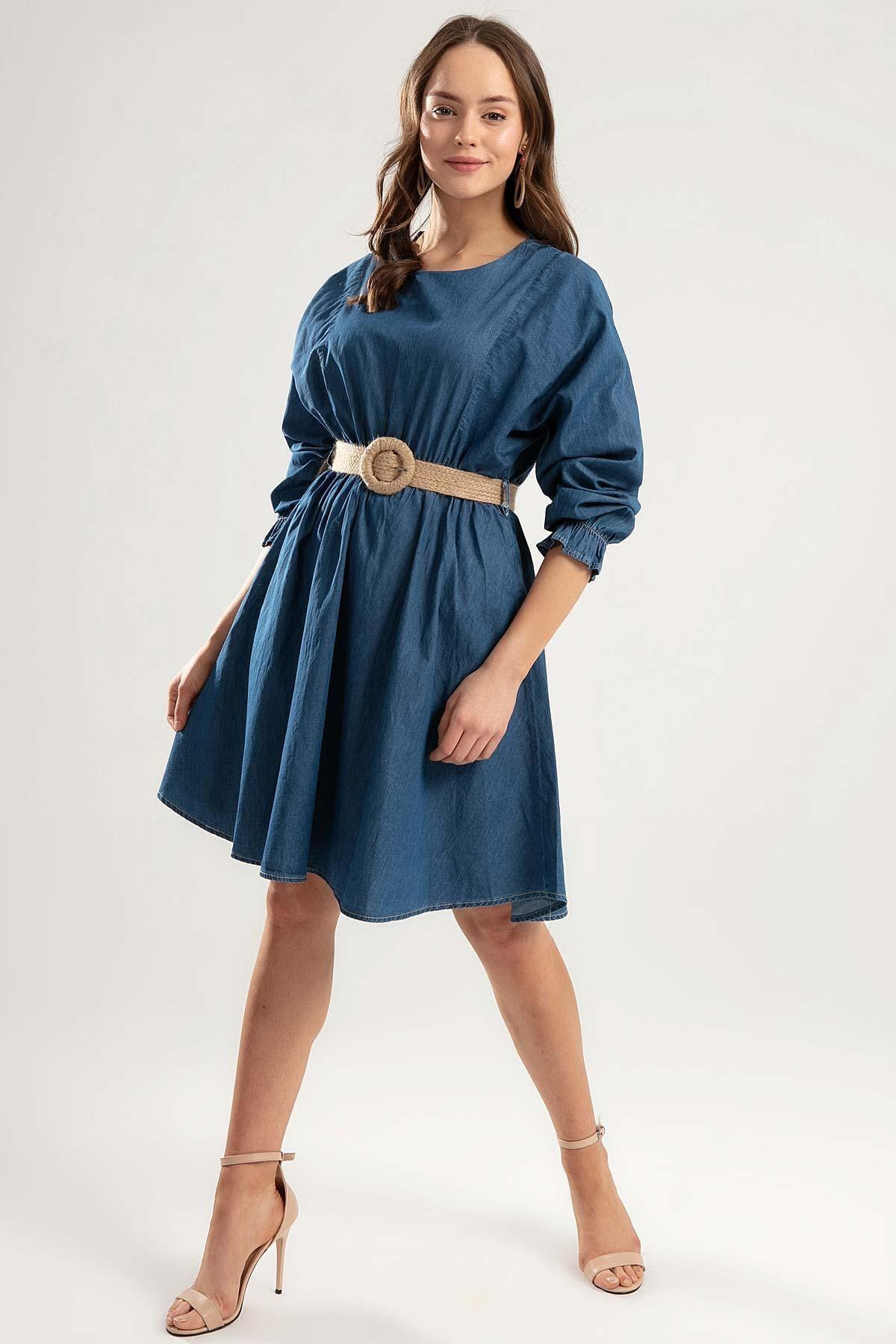 Pattaya Kadın Kemerli Mini Kot Elbise Y20s110-1923 2