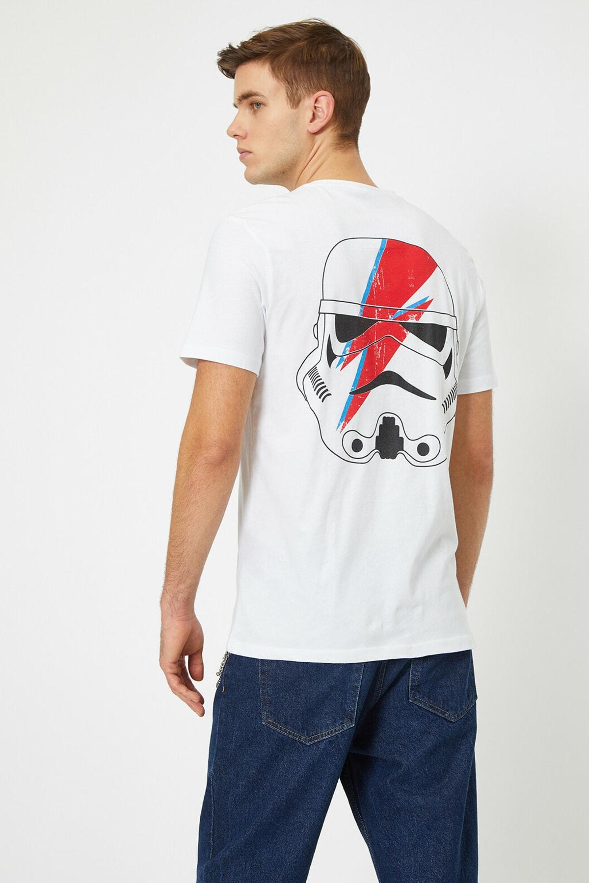 Koton Erkek Beyaz Star Wars Lisansli Baskili T-Shirt 0YAM11916CK 1