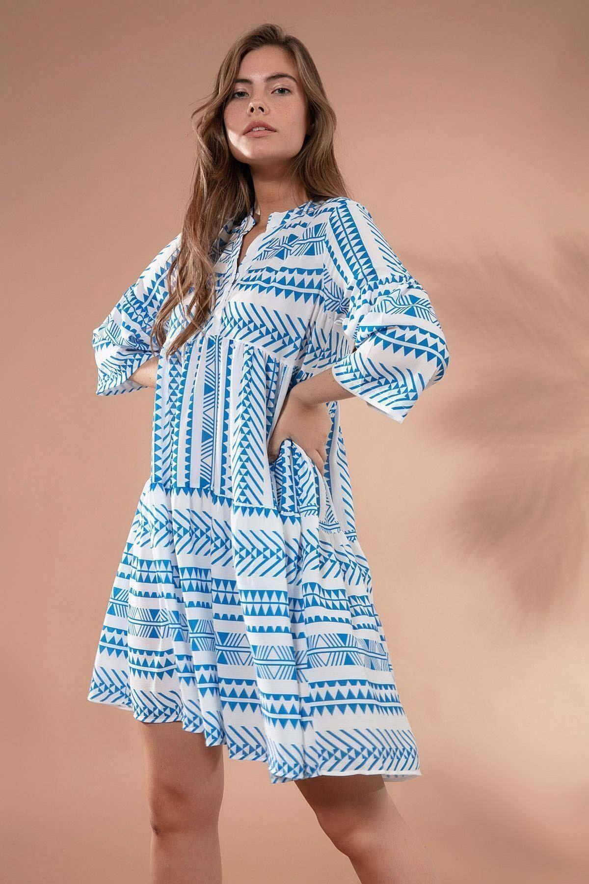 Pattaya Kadın Etnik Desenli Hakim Yaka Mini Elbise Y20s110-1975 2