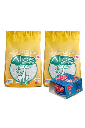 Alice Kartopu Ince Ve Beyaz Taneli Pudra Kokulu Kedi Kumu 2x10 Kg + Ton