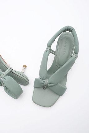 Marjin Kadın Yeşil Eltaz  Parmak Arası Topuklu Sandalet