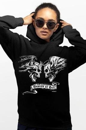 Rock & Roll Melek Şeytan Siyah Kapşonlu Kadın Sweatshirt